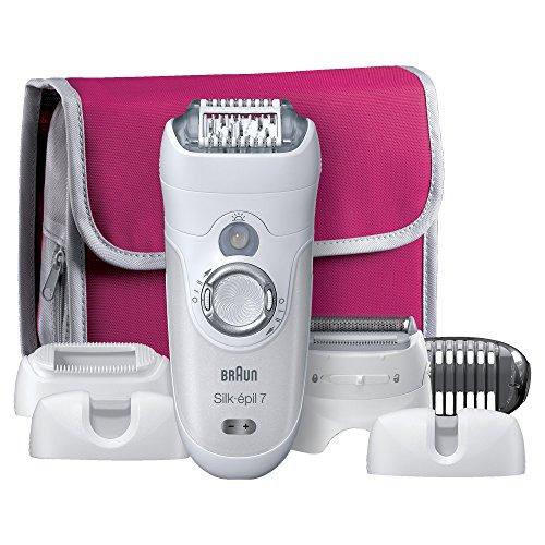 Braun Silk-épil 7 7-561 Epilierer (Epilator Premium Pack mit 6 Extras, Epiliergerät trocken und nass einsetzbar (Wet und Dry)) flieder