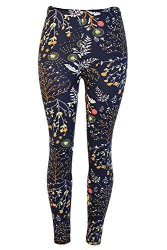 Navy Blue Floral Pattern (DawnRaid Womens Printed Brushed Leggings Autumn Winter Stretchy Pants Navy Blue Floral Pattern)