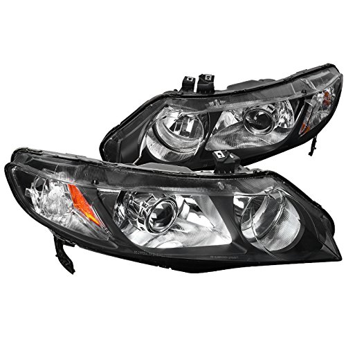 Spec-D Tuning 2LHP-CV064JM-RS Spec-D Projector Headlights - Black (Civic Spec D Tuning)