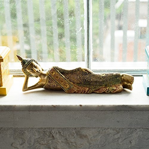 eCraftIndia Brass Decorative Thai Reclining Buddha Antique Showpiece by eCraftIndia