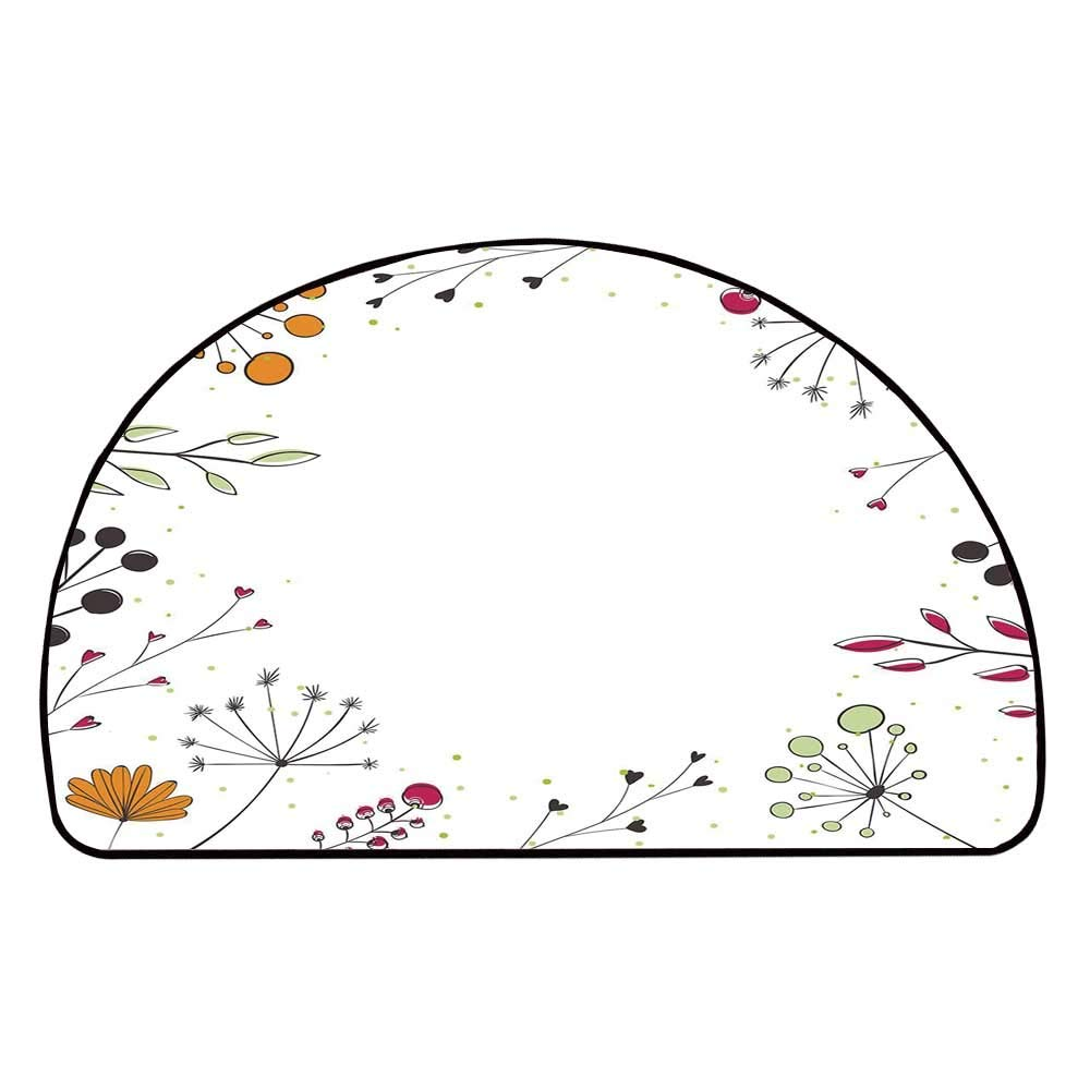 C COABALLA Modern Decor Comfortable Semicircle Mat,Floral Branches with Geometric Flowers Art Print for Living Room,11.8'' H x 23.6'' L