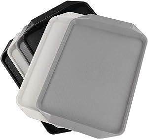 Ucake Plastic Large Rectangle Fast Food Serving Trays, Black White Gray, 6 Packs