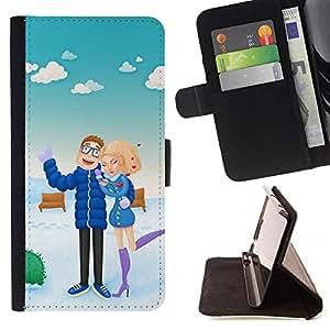 Momo Phone Case / Flip Funda de Cuero Case Cover - Pareja de vacaciones Mar del amor de la mujer del hombre de la playa - Samsung Galaxy J3 GSM-J300