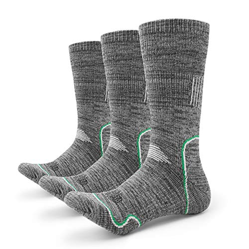 Petrala Hiking Socks Mens No Blister Thick Padded Cotton Heavy Cushion Thermal Grey Boot Sock 3 Pack for Trekking Outdoor