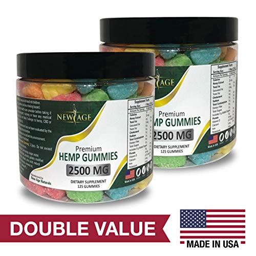 2 Pack New Age Naturals Advanced Hemp Big Gummies 5000mg 250ct Organic Hemp Oil Infused