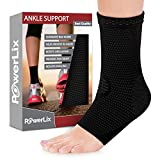 PowerLix Ankle Brace Compression Support Sleeve for Injury Recovery, Joint Pain and more. Plantar Fasciitis Foot Socks with Arch Support, Eases Swelling, Heel Spurs, Achilles tendon (Black, Medium)