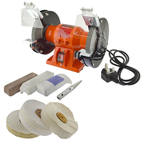 "Price comparison product image 6"" 150mm Bench Grinder 230v And Full General Purpose Metal Polishing Kit 8pc Kit"