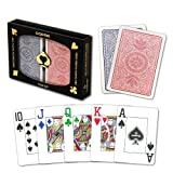 Copag 4-Color Dual Deck Set - Red/Blue, Poker Size, Jumbo Index - 100% Plastic Playing Cards with Protective Display Case