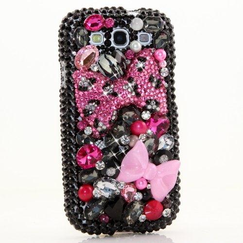Samsung Galaxy S4 I9500 Luxury 3d Bling Case - Gorgeous Pink Black Magenta Leopard Cheetah Bow Design - Swarovski Crystal Diamond Sparkle Girly Protective Cover Faceplate (100% Handcrafted By Star33mall)