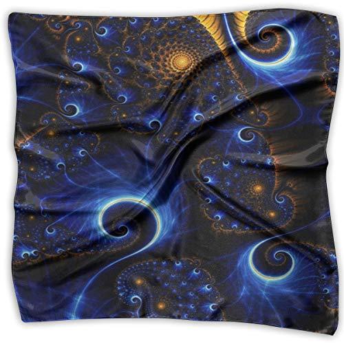 Large Womens Fashion Silk Neck Shawl Square Satin Scarf, Blue Trippy Tie Dye Pattern Printed Silky Bandana Head Scarf Sleeping