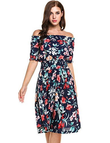 Meaneor Women Off Shoulder Vintage Half Sleeve Pullover Dress Blue L