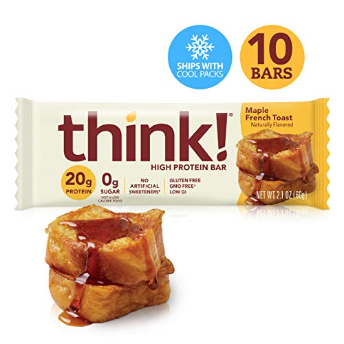 think! (thinkThin) High Protein Bars – Maple French Toast (Maple Almond), 20g Protein, 0g Sugar, No Artificial Sweeteners, Gluten Free, GMO Free*, 2.1 oz bar (10Count – Packaging May Vary)