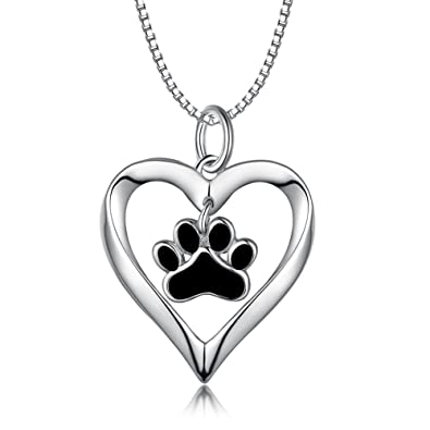 Amazon paw print pendant necklace sterling silver paw necklace paw print pendant necklace sterling silver paw necklace gifts for dog lovers paw print heart aloadofball Gallery