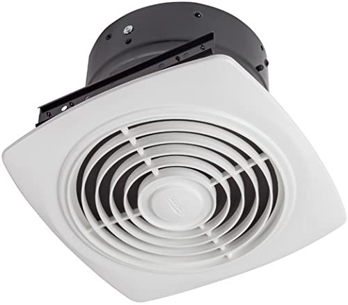 Broan 504 Vertical Discharge Utility Fan, 10-Inch 350 CFM 6.5 Sones, White Plastic Grille Renewed