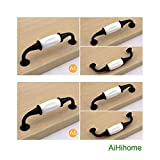 10pcs White Ceramic Cabinet Knob Drawer Pull Handle Kitchen Door Hardware Black for Furniture Door,Cupboards,Armoire,Wardrobe,Dresser
