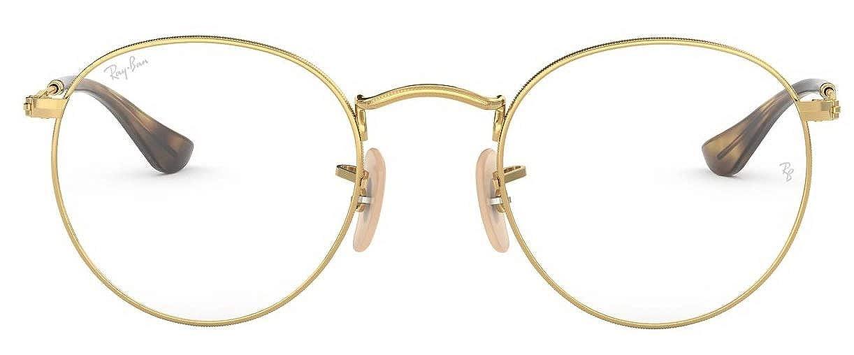 00d59a786c Amazon.com  Ray-Ban 0rx3447v No Polarization Round Prescription Eyewear  Frame Gold 47 mm  Clothing