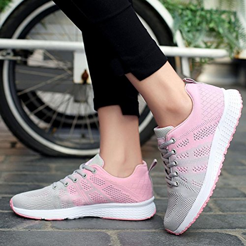 Mesh Outdoor Shoes Cross Beathable Toe Sport Running Round Women Sneakers Lace HLHN Gray Casual Walking up Eqx6ntHX