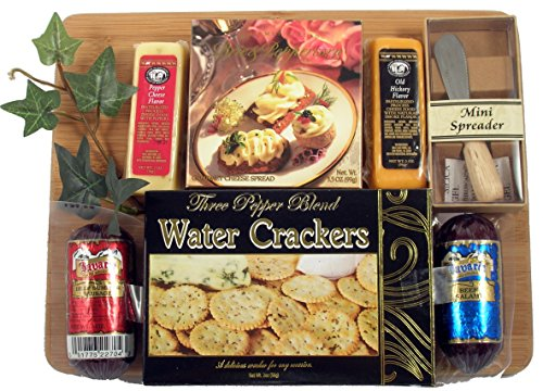 - Board Of Directors - Meat & Cheese Gift Arranged On Bamboo Cutting Board With Sausage, Cheese And Crackers And A Spreader (Small)