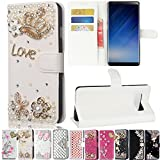 Galaxy Note 8 Case, Best Share Manual Bling Flip Stand PU Leather Wallet Full Cover Silicone Case with Card Slot for Samsung Galaxy Note 8, White-Crown Love