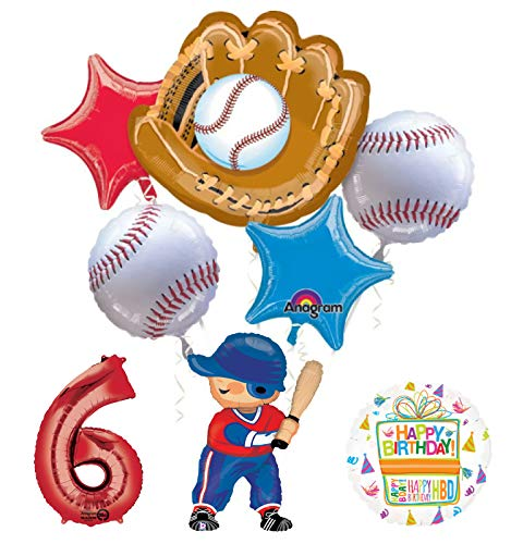 Baseball Player 6th Birthday Party Supplies Balloon Bouquet Decorations