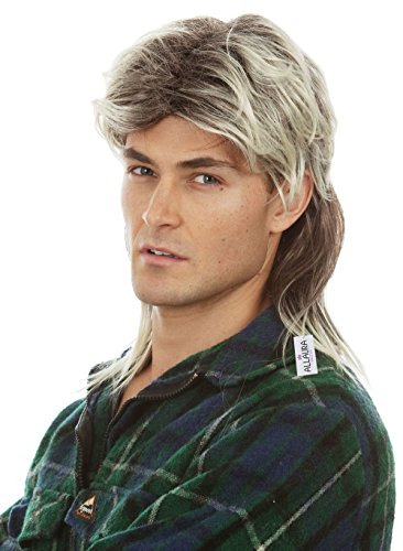 Mullet Wigs for Men 80s Costumes Mens Mullet Wig Merica Blonde Joe Dirt White Trash Costume Accessories]()