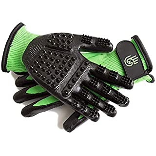 HandsOn Pet Grooming Gloves - #1 Ranked, Award Winning Shedding, Bathing, & Hair Remover Gloves for Cats, Dogs, and Horses (Green / Black, Medium)