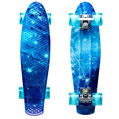 ENKEEO 22 Inch Cruiser Skateboard Plastic Banana Board with Bendable Deck and Smooth PU Casters for Kids Boys Youths Beginners, 220 Ibs. (Ocean) ()