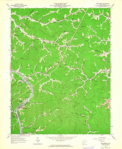 YellowMaps Henlawson WV topo map, 1:24000 Scale, 7.5 X 7.5 Minute, Historical, 1963, Updated 1964, 26.9 x 22.1 in - Paper