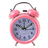 Surborder Shop Pink 3 inch Twin Bell Analog Alarm Clock Battery Operated - Loud Alarm Clock