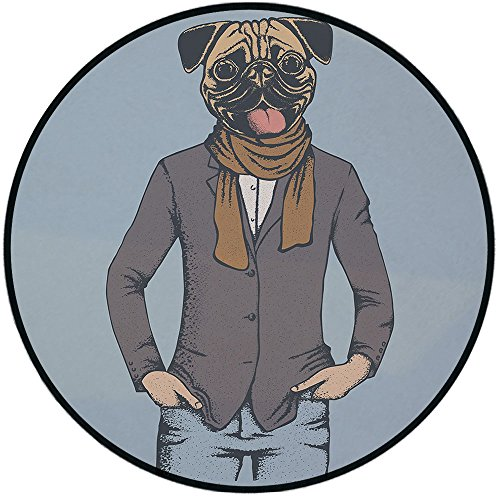 Printing Round Rug,Pug,Abstract Image of a Dog with Human Proportions with Jacket Scarf and Jeans Absurd Decorative Mat Non-Slip Soft Entrance Mat Door Floor Rug Area Rug For Chair Living Room,Taupe B
