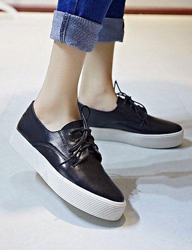 Blanc Cn35 A 5 Cuir Bout Richelieu Chaussures Eu36 Arrondi Femme Noir us5 Décontracté Plateforme Uk3 White Plateau 5 Njx wYHUI1qx