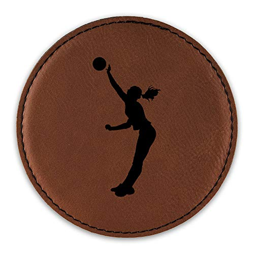 Girl Silouette (Womens Volleyball Drink Coaster Leatherette Round Coasters Girl Spike Silouette - Rawhide - Set of Six Round Coasters)