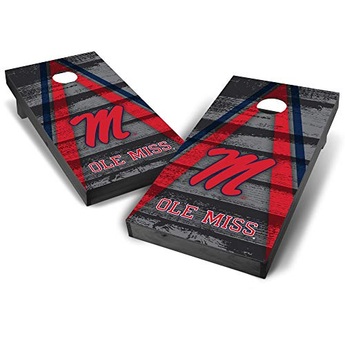 Wild Sports NCAA College Ole Miss Rebels 2' x 4' Grey Authentic Cornhole Game Set - Vintage Triangle Design