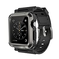 Simpeak Grey Rugged Protective Case with Black Strap Bands for Apple Watch 42mm Series 1 Series 2