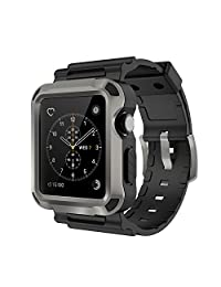 Apple Watch Bands, Simpeak Silicone Replacement Band Strap with Case for Apple Watch iWatch Series 1 and 2 - 42mm,Grey+Black Frame