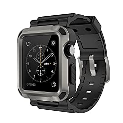Simpeak Grey Rugged Protective Case With Black Strap Bands For Apple Watch 42mm Series 1 Series 2 Series 3