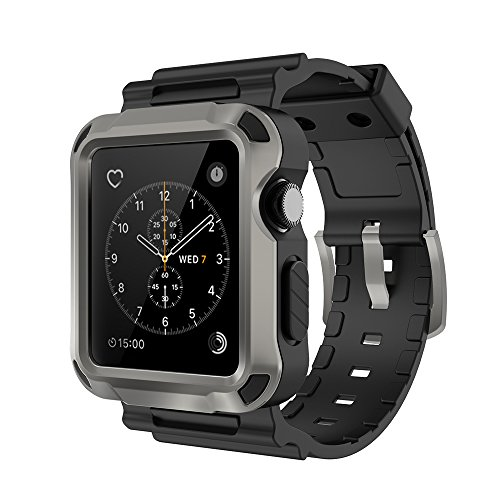 Simpeak Band for Apple Watch 3, Grey Rugged Protective Case with Black Strap Bands for Apple Watch 42mm Series 1 Series 2 Series 3