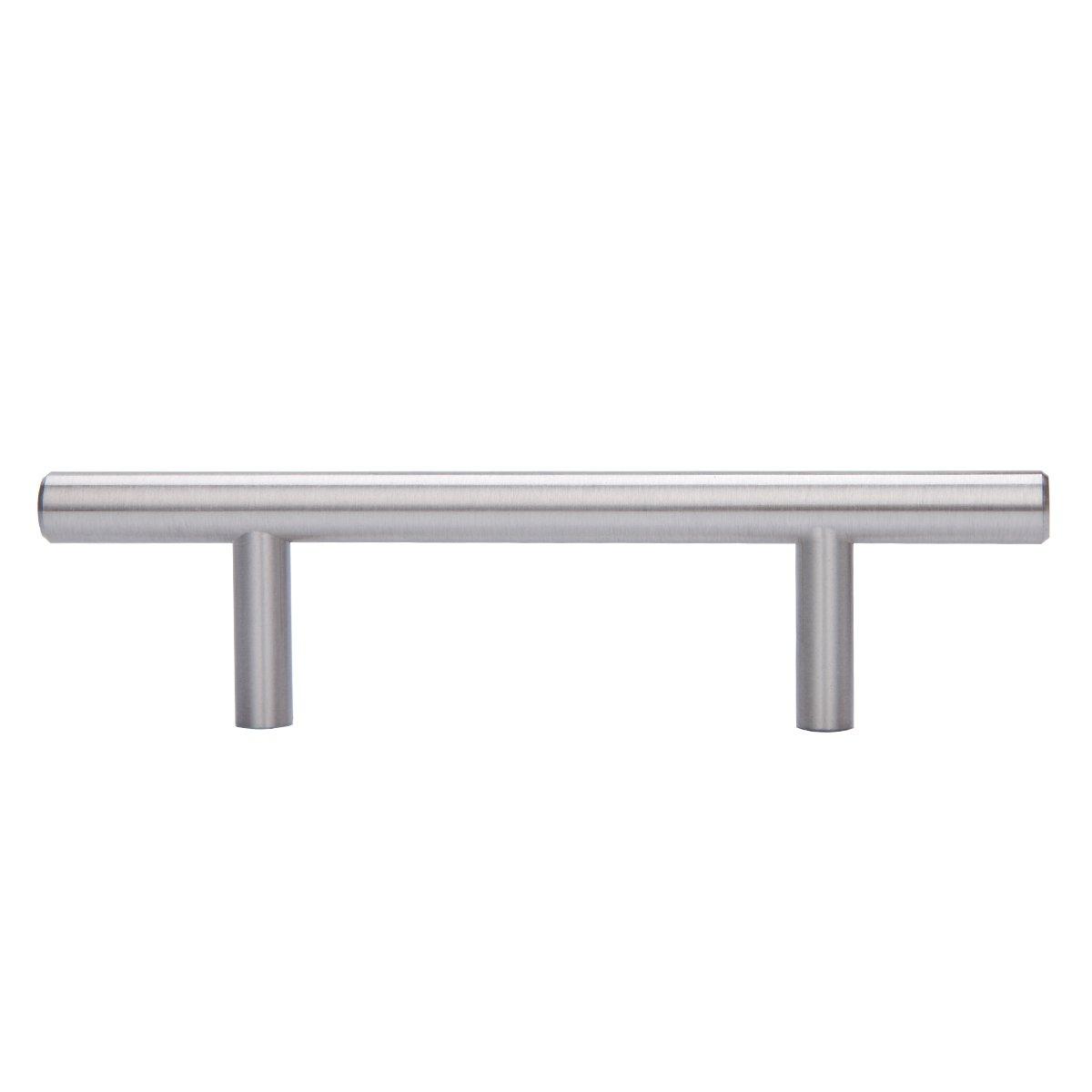 Paquete de 10 Tirador de armario en forma de barra centro del orificio de 10,16 cm 9,52 mm de di/ámetro Basics tipo europeo Negro liso 16,2 cm de longitud