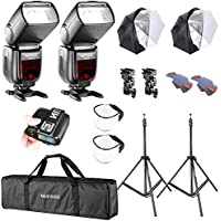 Neewer 2 Set Camera Studio TTL Flash and Umbrella Lighting Kit for Sony DSLR with New MI Shoe:(2)NW880S Wireless GN 60 2.4G HSS Master/Slave Speedlite,(1)Flash Trigger,(2)Light Stand,(2)Umbrella