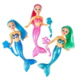 Kidsco Mermaid Set – 6 inches Cool and Fun Little Mermaid Dolls (Pack of 3) – Great Party Favor, Party Bag Stuffer, Giveaways, Novelty Toys