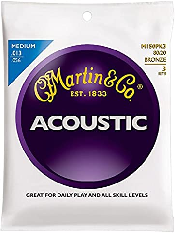 Martin M150 80/20 Bronze Medium 3-Pack Acoustic Guitar Strings (Acoustic Basses)