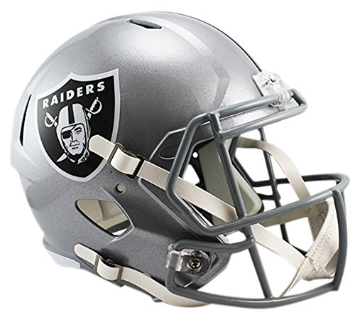 Nfl Raiders Helmet (NFL Oakland Raiders Riddell Full Size Replica Speed Helmet, Medium, Silver)