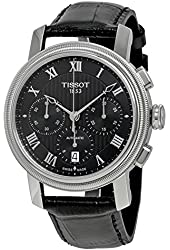 Tissot Men's 'Bridgeport' Swiss Stainless Steel and Leather Automatic Watch, Color:Black (Model: T0974271605300)