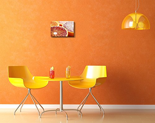 Close Up of Halved Blood Orange Fruits Photograph Wall Decor