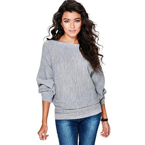 Knitted Pullover Sweater,Hemlock Women's Loose Blouse Batwing Sleeve Jumper Tops Knitwear (S, Grey)
