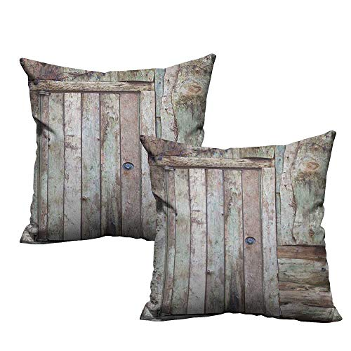 (RuppertTextile Fashion Pillowcase Rustic Old Rustic Barn Door Cottage Country Cabin Theme Rural Mystic Entrance of Home Anti-Fading W14 xL14 2 pcs)