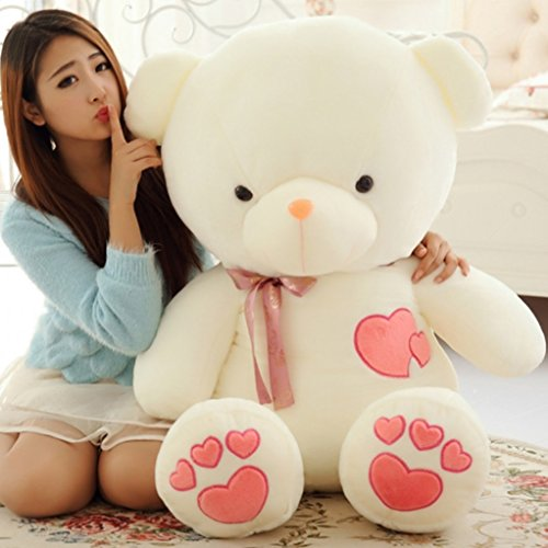 (YXCSELL 18 Inches White Cute Soft Plush Stuffed Animals Giant Teddy Bear Toys with Pink Heart Shaped Embroideries Best Gift for Girlfriend)