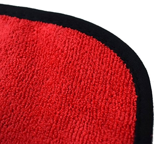 (5-Pack) THE RAG COMPANY 16 in. x 16 in. Professional 70/30 Blend 365 GSM Plush Microfiber Auto Detailing Towels With ButterSoft Suede Edge - The DRAGO (16 x 16, Red)