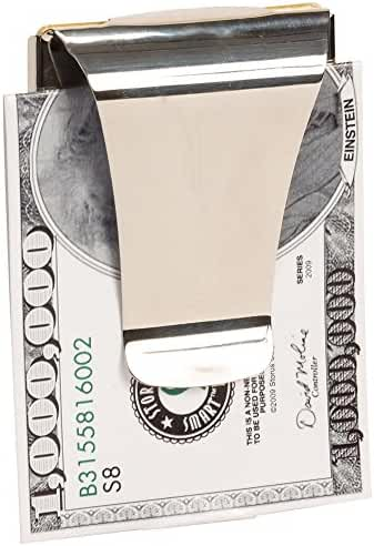 DEWANG Silver Stainless Steel Slim Money Clip Wallet Double Sided