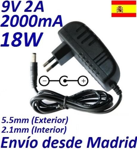 Cargador Corriente 9V 2A 2000mA 5.5mm 2.1mm 18W: Amazon.es ...